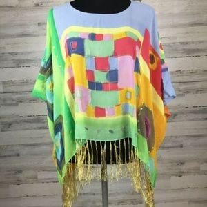 Chicos sz S/M Semi Sheer Silk Watercolor Poncho